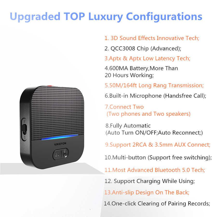 3D & AptX LL Bluetooth 5.0 RCA Audio récepteur 3.5mm Jack Aux musique sans fil adaptateur Auto ON pour haut-parleur voiture émetteur 50M & 20H