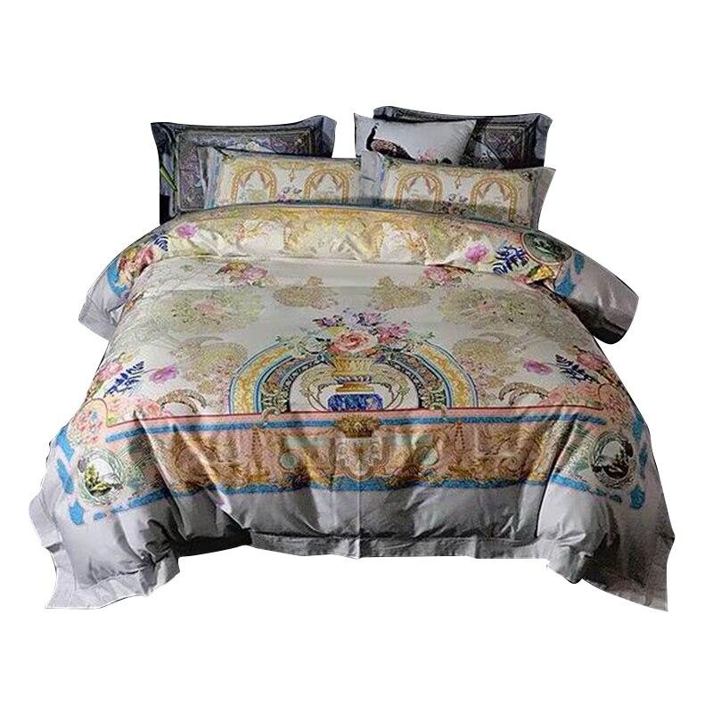 Alta gama de algodón de lujo de Europa real Italia diseño barroco impreso Caballero Rey reina tamaño 3D marca Oro Villa ropa de cama de boda conjuntos-in Juegos de ropa de cama from Hogar y Mascotas    1
