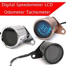 모든 새로운 범용 오토바이 디지털 오토바이 속도계 레트로 LCD 주행 거리계 카페 레이서 타코미터 표시기 스쿠터 ATV 미터