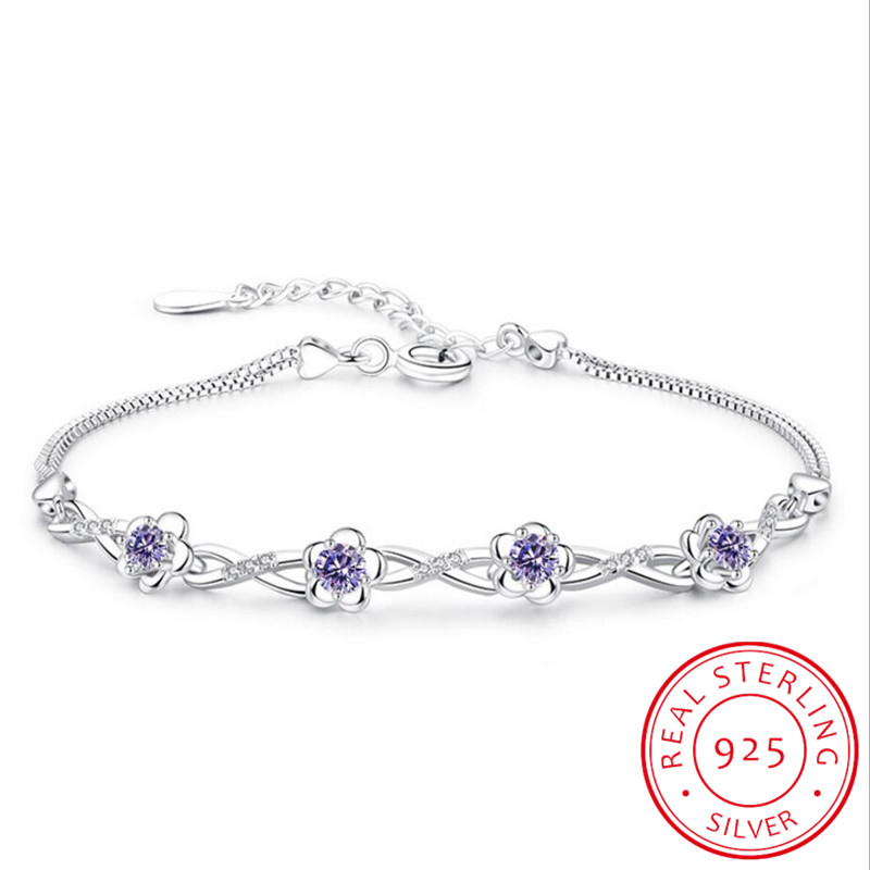 Luxury 925 Sterling Silver Bracelets Purple White Zirconia Plum Flower Bracelets & Bangles For Women Pulseira De Prata S-B51