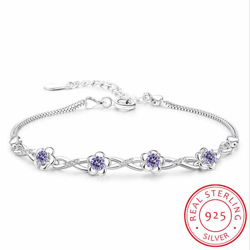 Luxury 925 เงินสเตอร์ลิงสร้อยข้อมือสีม่วงสีขาว Zirconia พลัมดอกไม้กำไลและกำไลข้อมือสำหรับผู้หญิง pulseira de Prata S-B51