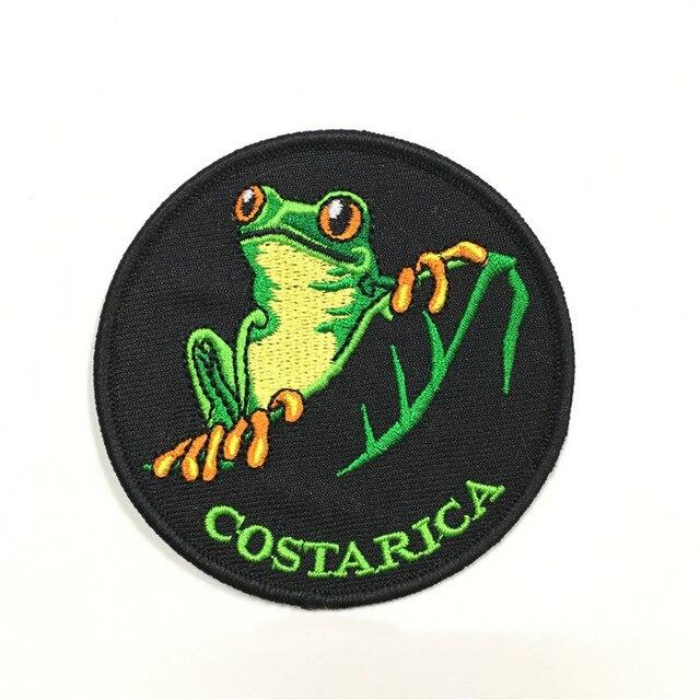 COSTARICA-patchs de broderie pour grenouille | badge en fer bricolage pour fabricant de vêtements, modèle personnalisé