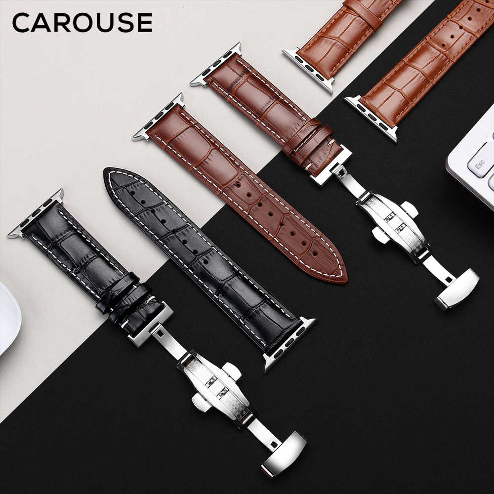 Carouse genuino de cuero de piel de becerro de la venda de reloj para Apple Watch banda serie 5/4/3/2 38mm 42mm Apple Watch Correa iWatch 40mm 44mm