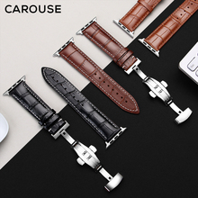 Carouse Genuine Calfskin Watchband For Apple Watch Band Series SE/6/5/4/3/2/1 38mm 42mm Leather Strap For iWatch 40mm 44mm
