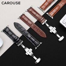 Carouse prawdziwej skóry cielęcej Watchband dla pasek do Apple Watch serii SE/6/5/4/3/2/1 38mm 42mm skórzany pasek do zegarka 40mm 44mm
