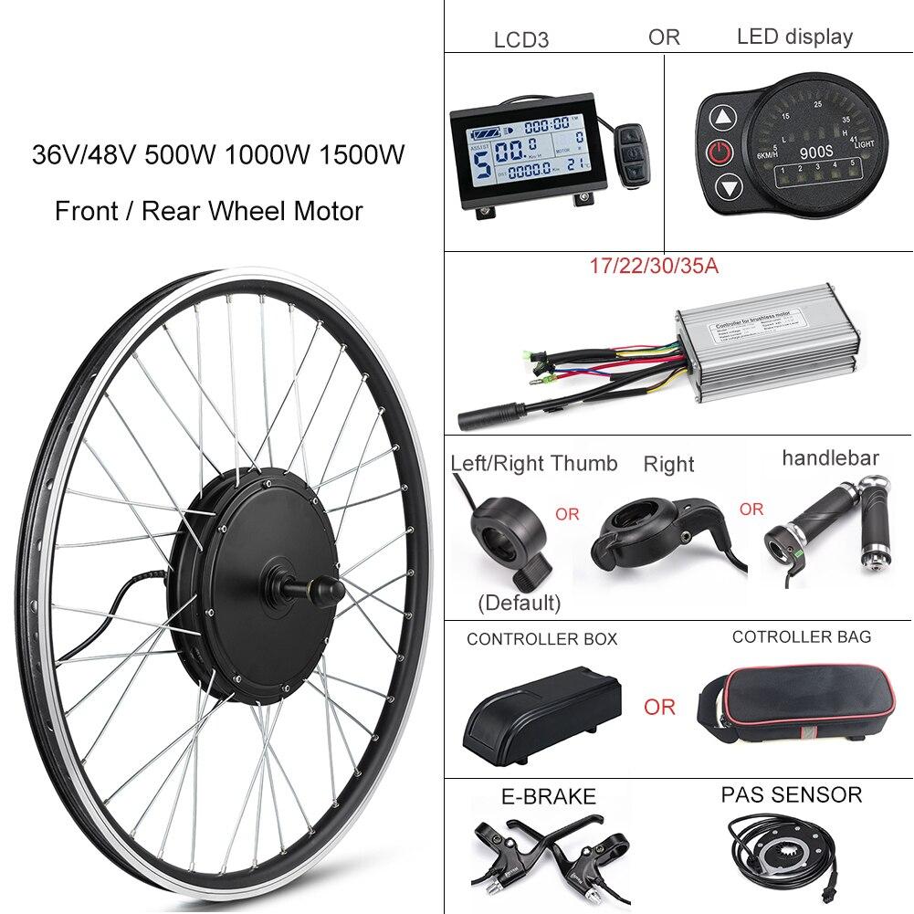 Kit de Conversion de vélo électrique 1500W roue de moteur 48V 500W 1000W Kit Ebike moteur de moyeu avant/arrière 350W 36V E moteur de vélo 26 pouces LCD3