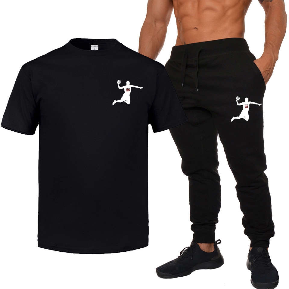 Brand Printed Summer Wear New Style Men Fashion Short Sleeve T-shirt Trousers Sports Set Youth Casual Two-Piece Set