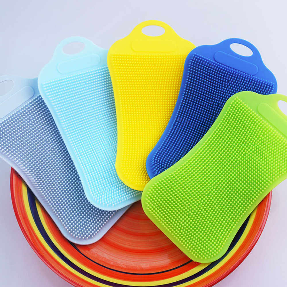1Pc Silicone Dish Washing Sponge Scrubber Kitchen Cleaning Antibacterial Tool Dish Bowl Magic Cleaning Brush Scouring Pad Wash