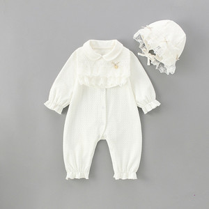 Newborn Baby Girls Rompers Jumpsuit England Style Peter Pan Collar Lace Cute Fashion Baby Clothes Outfit 0-24M(China)