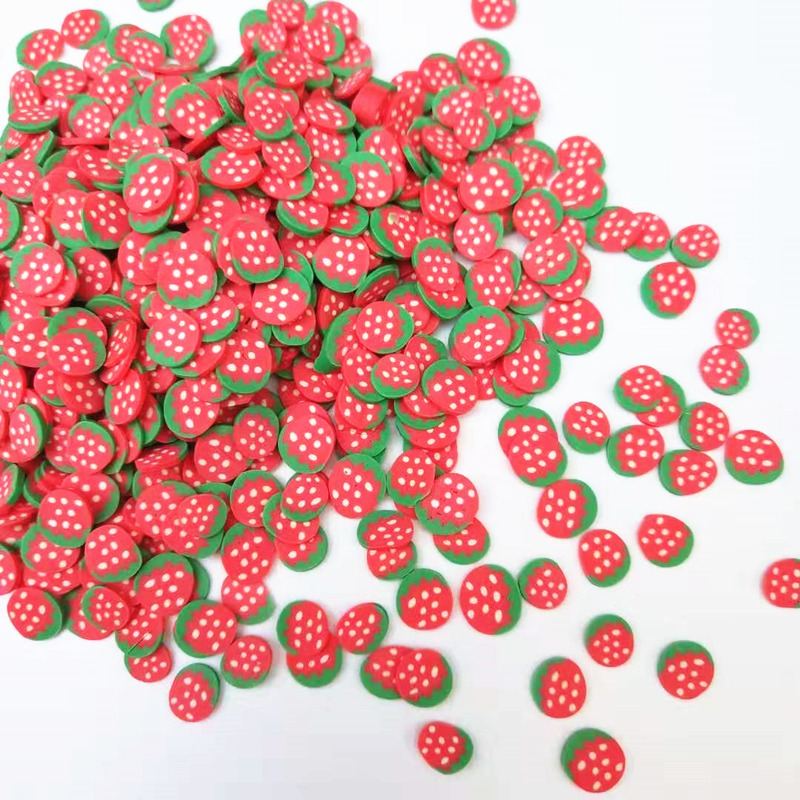 20g/lot 5mm Strawberry Fruit Polymer Clay Plastic Klei Mud Particles For Card Making Tiny Cute DIY Crafts