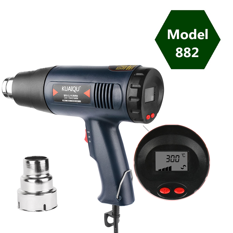 1800W Digital Display Air Dryer For Soldering Building Hair Dryer Hot Air Gun Adjustable Temperature Heat Gun 60~600℃ 220V