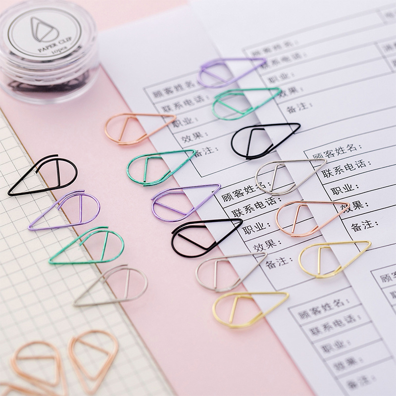 10PCS Cute Kawaii Small Colorful Rain Water Paper Clip Metal Bookmark Binder Clip Bookmarks School Office Supplies