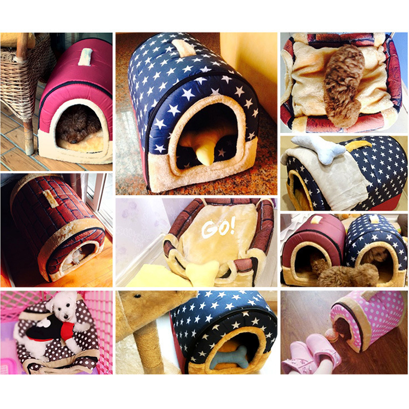 Removable 2 in 1 House and Sofa For Pet Cat Bed Dog Puppy Rabbit Warm Soft Short Plush Kennel Sleeping Bag Cave Pet Supplies in Cat Beds Mats from Home Garden