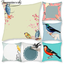 Fuwatacchi Cute Birds Parrot Pattern Cushion Covers Christmas Decor Pillow Covers for Home Sofa Decorative Pillowcase 45*45cm