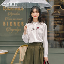 Inman 2020 Herfst Nieuwe Collectie Literaire Katoen Rose Borst Single-Breasted Revers Losse Blouse(China)
