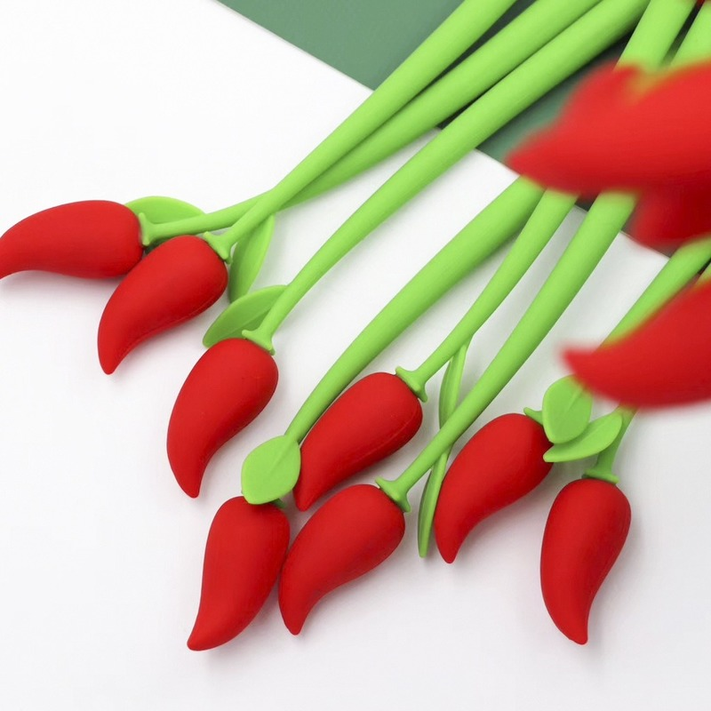Hot Red Pepper Silicone Gel Pen Soft Modeling Black Ink Pen Smooth Easy Writing Office School Stationery Korea Designer Supplies