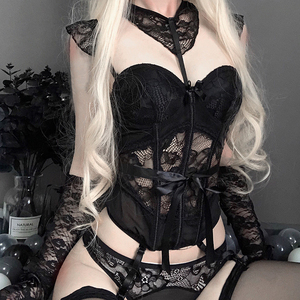 Image 4 - The New Wetlook Bust Bustier Corset Top with Suspenders Womens Night Sexy Clubwear Patent Backless  kawaii lingerie