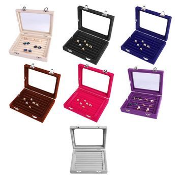 Velvet Glass Ring Earring Jewelry Display Organizer Box Tray Holder Storage Case Stud Earrings Jewelry Box Jewelry Container pillow style jewelry watch bracelet display tray box necklace earring container boxes case jewelry organizer gift