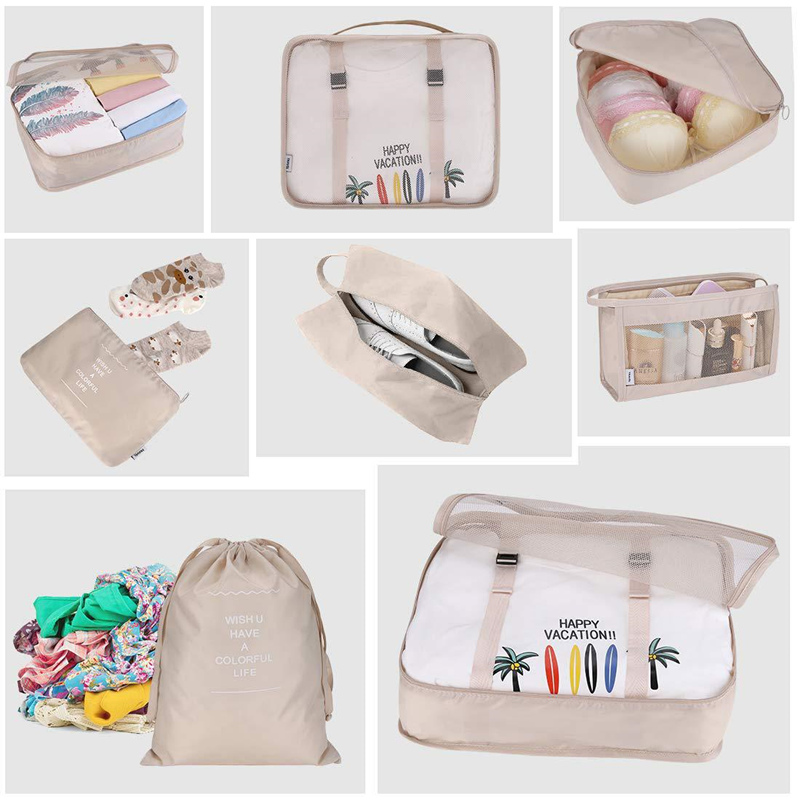 8Pcs/set Travel Clothes Classification Storage Bag For Packing Cube Shoe Underwear Toiletries Organizer Pouch Travel Accessories