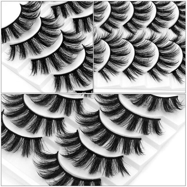 Sexysheep 5 pares 3d vison cílios postiços natural/grosso longo olho cílios wispy maquiagem beleza extensão ferramentas 5