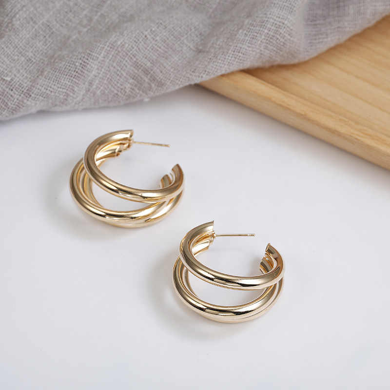 European and American normcore earrings C - shaped multi-layer small stud earrings versatile geometric metal earrings