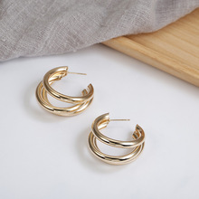 European and American normcore earrings C - shaped multi-layer small stud earrings versatile geometric metal earrings ring shaped stud earrings