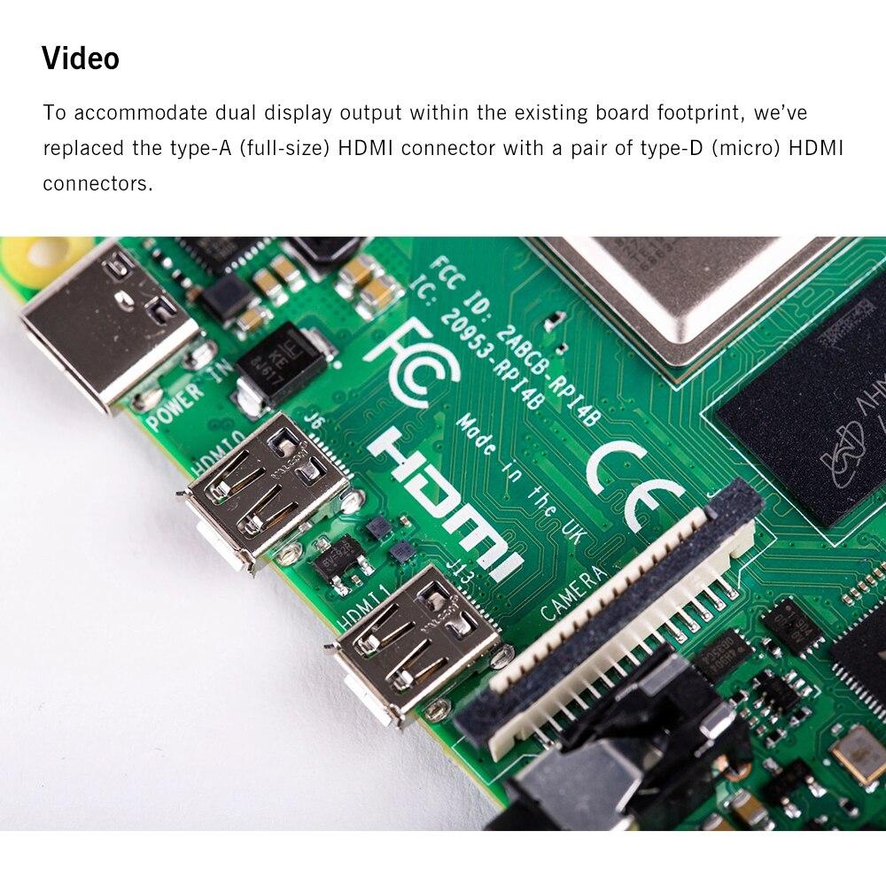 Dernière framboise Pi 4 modèle B avec 1/2/4GB RAM BCM2711 Quad core bras de Cortex-A72 v8 1.5GHz soutien 2.4/5.0 GHz WIFI Bluetooth 5.0 - 4