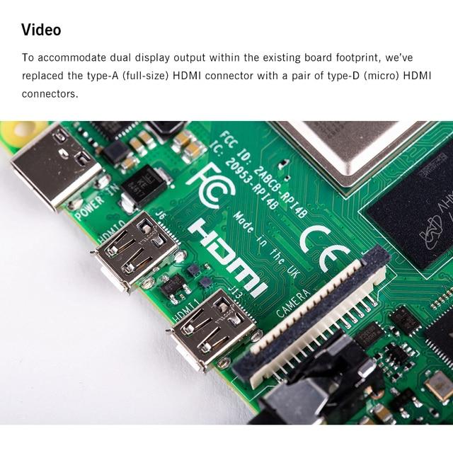 Latest Raspberry Pi 4 Model B with 1/2/4GB RAM BCM2711 Quad core Cortex-A72 ARM v8 1.5GHz Support 2.4/5.0 GHz Speeder Than Pi 3B 3