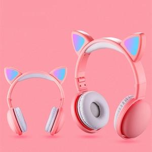 Image 3 - הגעה חדשה LED חתול אוזן אוזניות חכם רעש ביטול Bluetooth 5.0 אוזניות מבוגרים וילדים אוזניות עם מיקרופון 3.5mm תקע