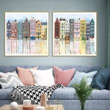 Акварель ручной росписью фасадов разноцветных здания Холст Картина