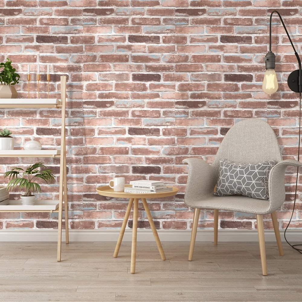 Luckyyj Peel And Stick Faux Brick Wallpaper Rust Red Blue White Vinyl Self Adhesive Prepasted Contact Paper Wall Decoration Wallpapers Aliexpress