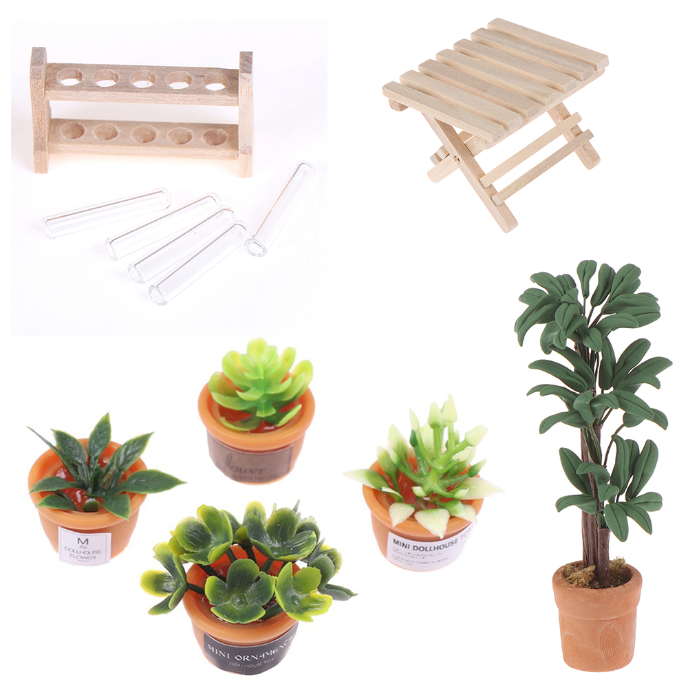 DIY 1:12 Dollhouse Miniature Potted Plant Pot Folding Table Laboratory Glass Test Tubes With Wooden Rack Furniture Toys