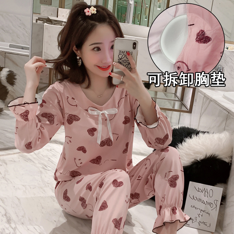INS Princess Style Pajamas Women's Autumn Korean-style Drawstring Top Long Sleeve Trousers With Chest Pad Pullover Tracksuit