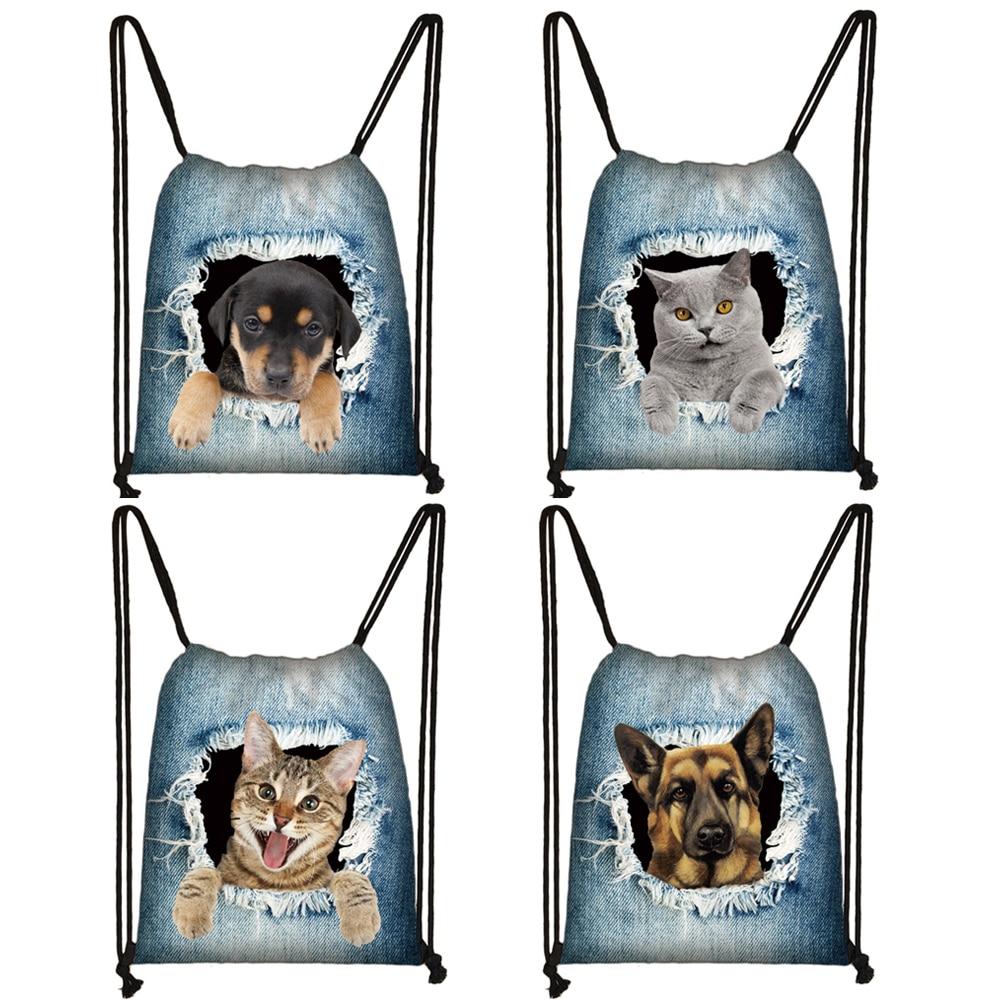 Funny Puppy Dog / Kitten Cat Print Drawstring Bag Women Fashion Storage Bag Ladies Shopping Bags Teenager Boys Girl Backpack