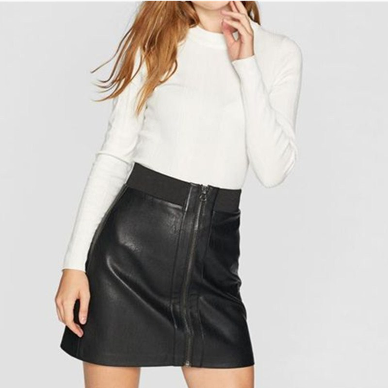Za Home Autumn And Winter New Style WOMEN'S Dress Zipper Decorations Pu Half-length Short Skirt 04668626001
