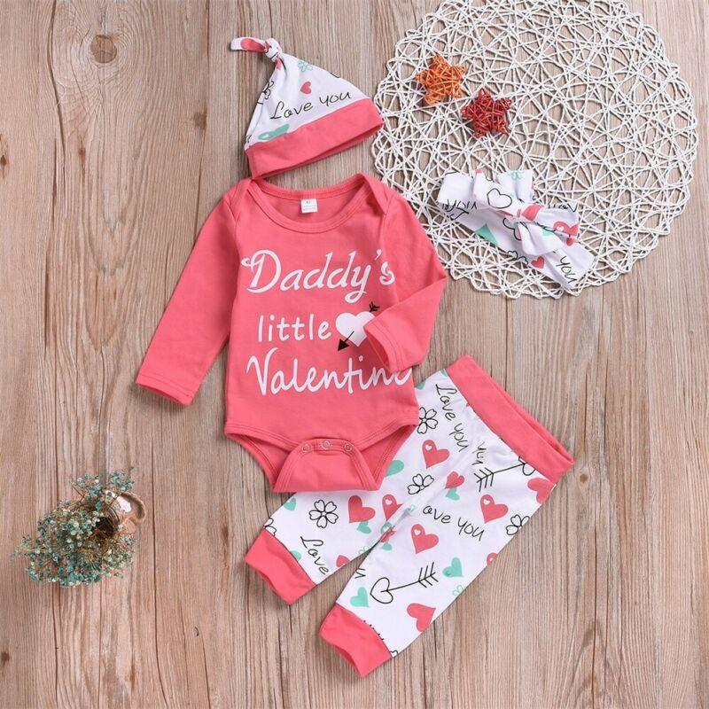 Newborn Baby Girl Outfit Clothes Long Sleeve Jumpsuit Pants Legging Haedband Hat 4Pcs Set