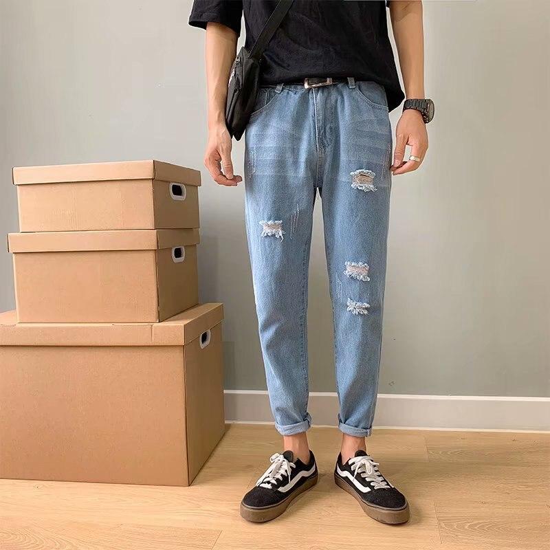 Summer 2020 Casual Hip Hop Cowboy Teenagers Denim Jeans Men Ripped Hole Pants Men Pants Korean Long Feet Ankle Length Pants
