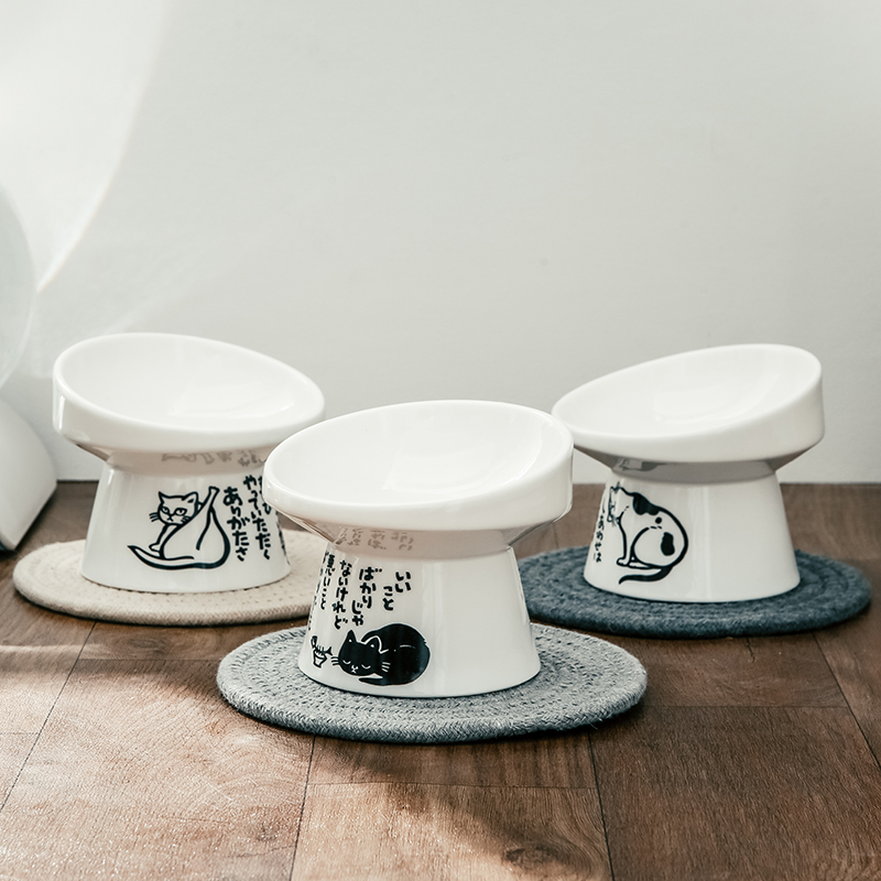 Non-slip Ceramic Cat Bowl Feeder with Raised Stand Bone China Cervical Protect Food Water Cat Bowl Ceramic Small Dog Pet Supply