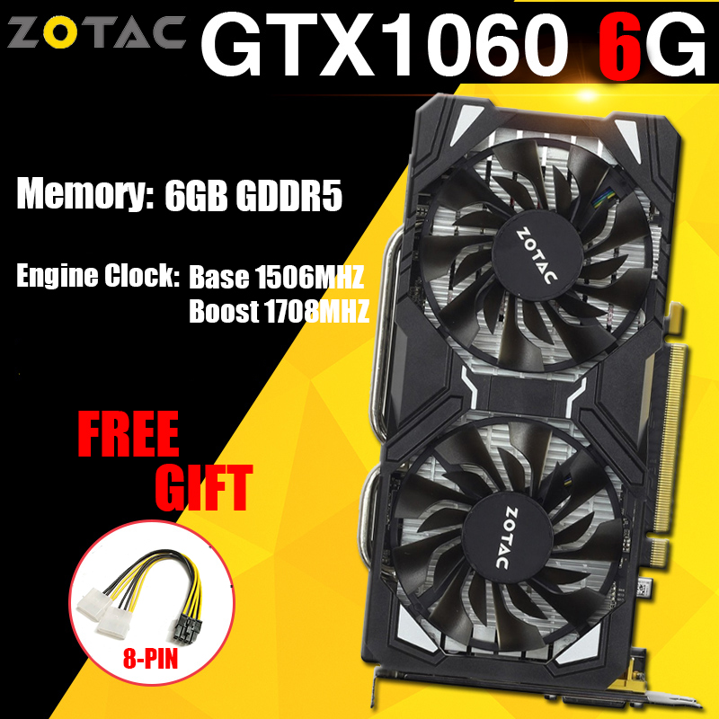 ZOTAC NVIDIA Graphics Cards GTX 1060 6GB Gaming PC Video Card NVIDIA GeForce GPU GTX 1060 6GB 192Bit GDDR5 VGA Card For PC Used image