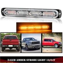 1 pçs luz estroboscópica âmbar 12-24v 24 led carro caminhão de emergência beacon aviso perigo piscando fso flash auto luzes laterais