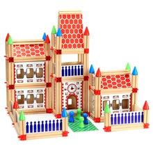 Montessori Educational Wooden Construction Building Model Building Blocks Children's Intelligence Building Block  kids Toy Gift