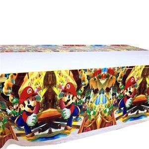 Image 5 - Kids Party Super Mario Bros disposable tablecloths cups plates straws napkins Mario Bros birthday party set tableware supplies