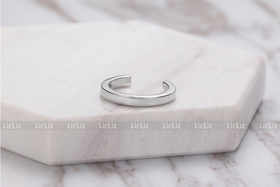 H6296bde08cff4a748e0abc7ec7498845c LicLiz 2019 925 Sterling Silver Big Open Adjustable Ring for Women Men Plain White Gold Jewelry Joyas de Plata 925 Bijoux LR0329
