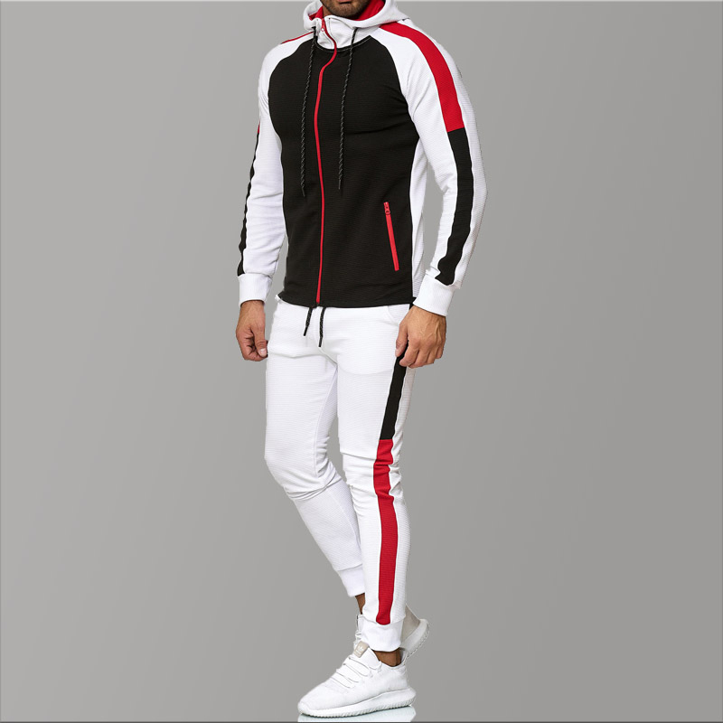 5XL Big Size Mens Tracksuits 2019 Men's Clothing Hoodies Red Stripe Sport Tracksuit Men Set Casual Tracksuit Men Sweat New