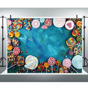Image 4 - Laeacco Lollipop Candy Bar Dessert Donut Baby Birthday Photography Backdrops Customize Photographic Backgrounds For Photo Studio