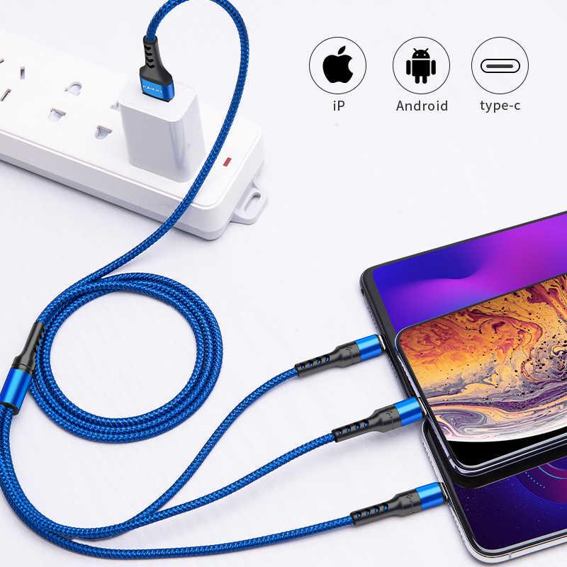 Power4 cep telefonu 3 in 1 USB kablosu ile mikro usb/tip C için şarj konektörü yıldırım iOS Android telefon şarj cihazı