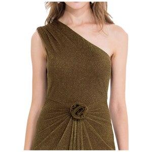 Image 4 - エンジェルファッションワンショルダープリーツシャーリングスパンコールスリットロングイブニングドレス 350 429