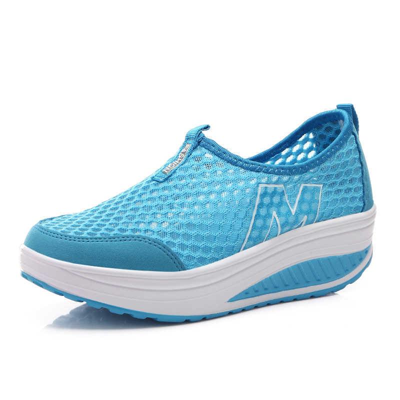 Yaz örgü ayakkabı kadın düz ayakkabı ayakkabı Platform ayakkabılar kadın loafer'lar hafif nefes takozlar ayakkabı bayanlar Flats