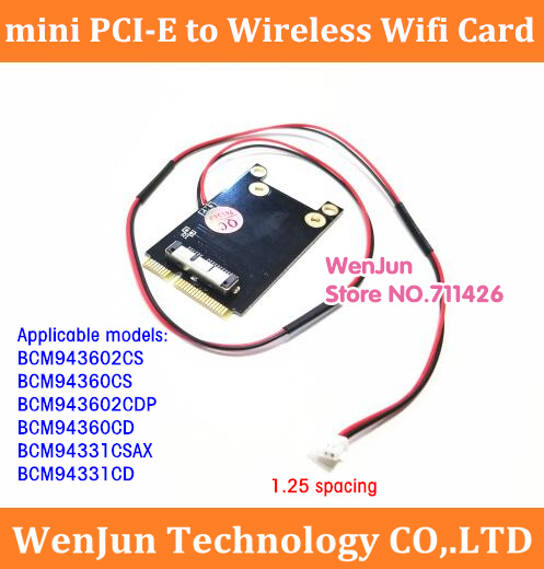 1.25mm <font><b>4pin</b></font> 2wire <font><b>MINI</b></font> PCI-E wireless wifi card with 40cm <font><b>cable</b></font> BCM94360CS BCM94331CD to <font><b>mini</b></font> pci-e adapter card for mac pro image