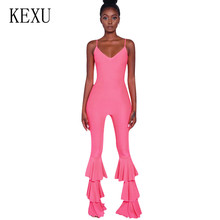 KEXU Womens Sexy Spaghetti Summer Sleeveless Jumpsuits Strap Female Bodycon Ruffles Trouser Ladies Elegant Club Overalls Mujer